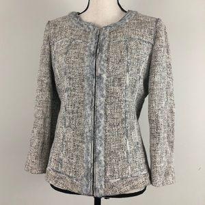 Elie Tahari Amber Gray Tweed & Snake Print Blazer